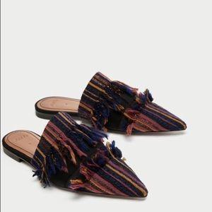 NWT Zara Fringe Frayed Fabric Mule Loafer Flats